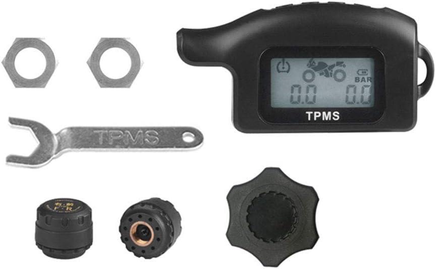 WYYHAA TPMS Sistema de Monitoreo de Presión, Inalámbrico Digital De Neumático Auto del Sistema De Alarma TPMS Display LCD con 2 Sensores Externos Apto para Motos