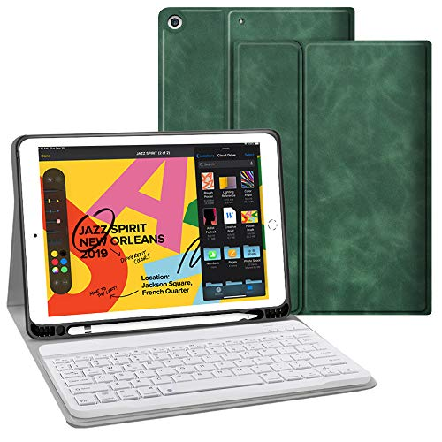 iPad Keyboard Case for iPad 10.2 2019 - JUQITECH Slim Smart iPad 7th Generation Case with Keyboard Wireless Bluetooth Detachable Magnetically Tablet Keyboard Cover Case with Apple Pencil Holder,Green