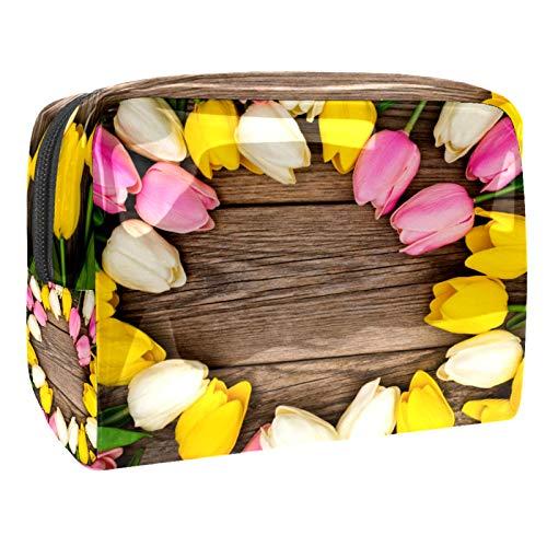 Bolsa de maquillaje portátil con cremallera, bolsa de aseo de viaje para mujeres, práctica bolsa de almacenamiento cosmético, bonito color tulipanes fondo de madera