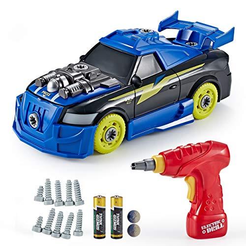 Think Gizmos Spielzeug-Bausatz für Kinder - Bauen Sie Ihren eigenen Turbo-Rennwagen TG726, Spielzeug für Jungen und Mädchen ab 3 Jahren, mit 27 Teilen mit realistischen Geräuschen und Lichtern