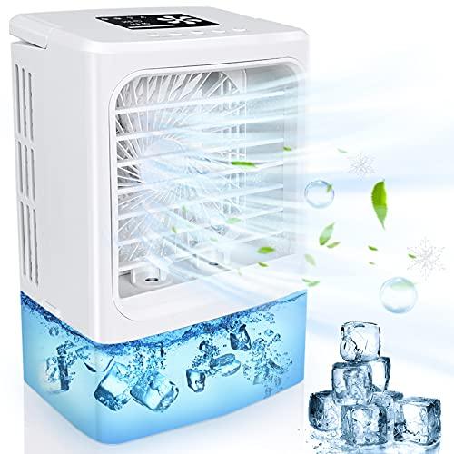 Climatiseur Portable, 4 en 1 Mini Refroidisseur d'air, Climatiseur Mobile Silencieux Ventilateur, Air Humidificateur Purificateur, 4 Vitesses, 2 nébulisation, 2/4h Timer- 7 Couleurs pour Maison/Bureau