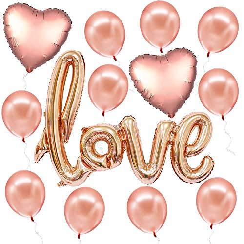 Rose Gold Love Balloon Letters - Jumbo 36 Inch | Foil Love Balloons For Romantic Night Valentines Decor | I Love You Balloons with Heart Foil Balloons | Script Love Balloons for Bridal Shower, Bedroom