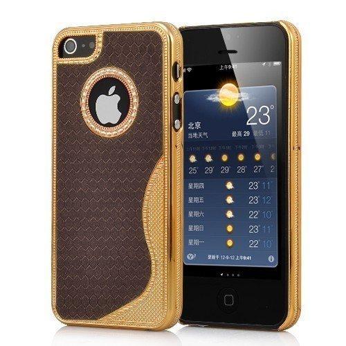 Cover Housse de protection des bornes pour Apple iPhone 5 femmes élégants chics femelle de cas de fille brun et paillettes brillant de téléphone portable de cas de téléphone portable