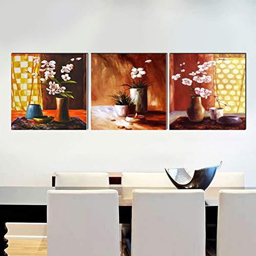 MMLFY 3 afbeeldingen op canvas 40 x 40 cm X3 Geen lijst Home Deco Bloem Plafond canvas schilderij Moderne kunstdruk 3 psc wandafbeeldingen voor woonkamer slaapkamer restaurant kantoor