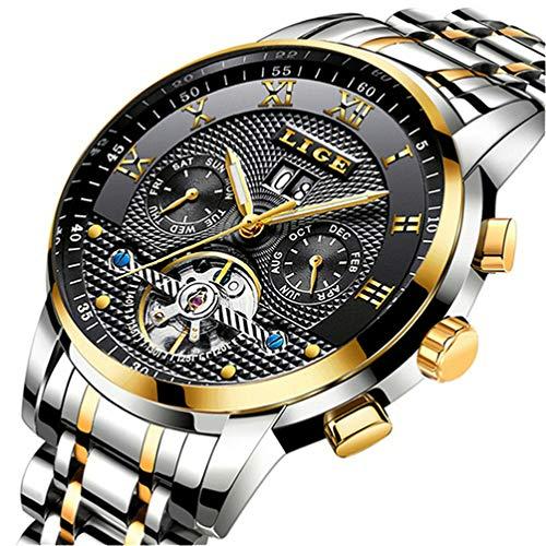 Uhr-Herren,Schwarze Mode Chronographen,Edelstahl Wasserdich, Blau Quartz Milanaise Mesh Armband (H)