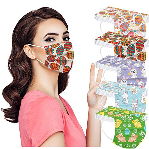 Easter Day Disposable Face_Mask with Designs for Women, Cute Bunny Printed Paper_mask for Coronavịrus Protection with Nose Wire, 3 Layer Thick Non-woven Breathable for Daily Use and Holiday (50pc, M3)