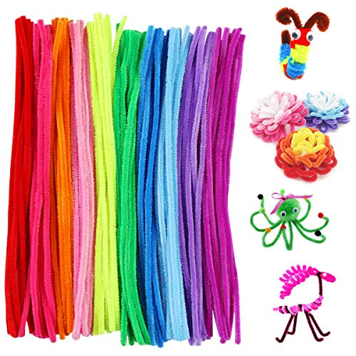 Harapu Pipe Cleaners, Assorted Bright Colors Chenille Stems for DIY Crafts Decorations Creative School Projects, 6 mm x 12 Inch, 100 Pcs