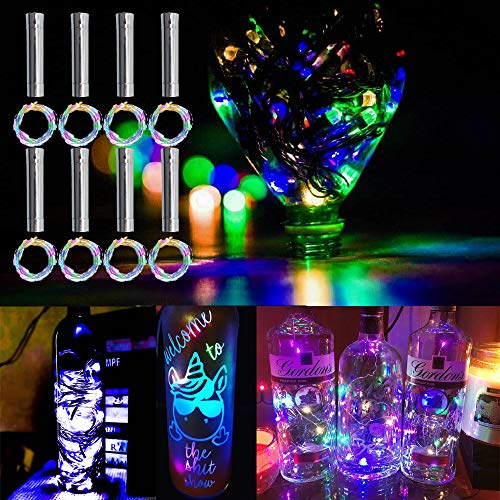 MEDOYOH 8 luces de corcho de colores para botellas, 2 m, 20 LED, luces para botella de vino con corcho, iluminación fácil, luces de botella, pilas AA para Navidad, manualidades, bodas o Navidad