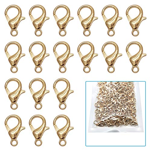 200Pcs Stainless Steel Lobster Claw Clasps kc Gold Fastener Hook Bracelet Necklace Clasps Findings for DIY Jewelry Making 12x6mm(KC Gold)