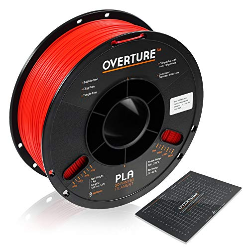 OVERTURE PLA Filament 1.75mm with 3D Build Surface 200mm × 200mm 3D Printer Consumables, 1kg Spool (2.2lbs), Dimensional Accuracy +/- 0.05 mm, Fit Most FDM Printer, Red