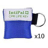 IntiPal 1/2/5/10 Stücke Beatmungsmaske Schlüsselanhänger Beatmungshilfe Notfalltuch Taschenmaske Erste Hilfe 5 Farben (10, Blue)
