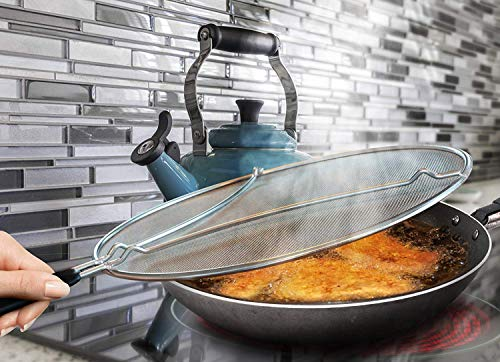STONEKAE Splatter Screen Set: 13-Inch Stainless Steel Grease Guard, Grill and Cooking Pan Scrapers, and Silicone Hot Handle Holder - Oil Shield for Frying Pans and Skillets