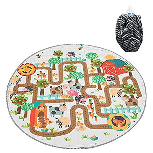 Duless Kinder Aufräumsack kinderteppich rund,Baby Krabbeldecke Kinderteppich Decke Antirutschbeschichtete Baumwoll-Spieldecke für Kinderzimmer
