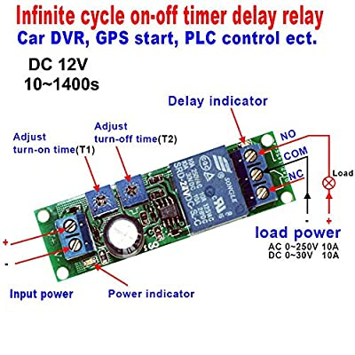 DC 12V Infinite Cycle Delay Timer Time Relay ON Off Switch Loop Module 10~1400 Seconds