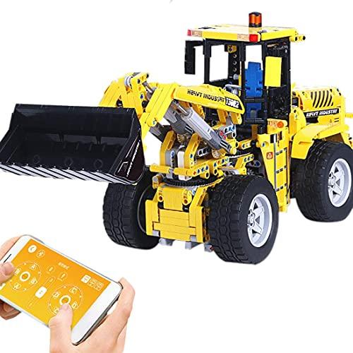 Technik bloque de construcción rueda cargadora juguete, 1572 partes 1:10 2.4G control remoto bulldozer sitio de construcción juguete vehículo construcción juguete compatible con Lego Technic