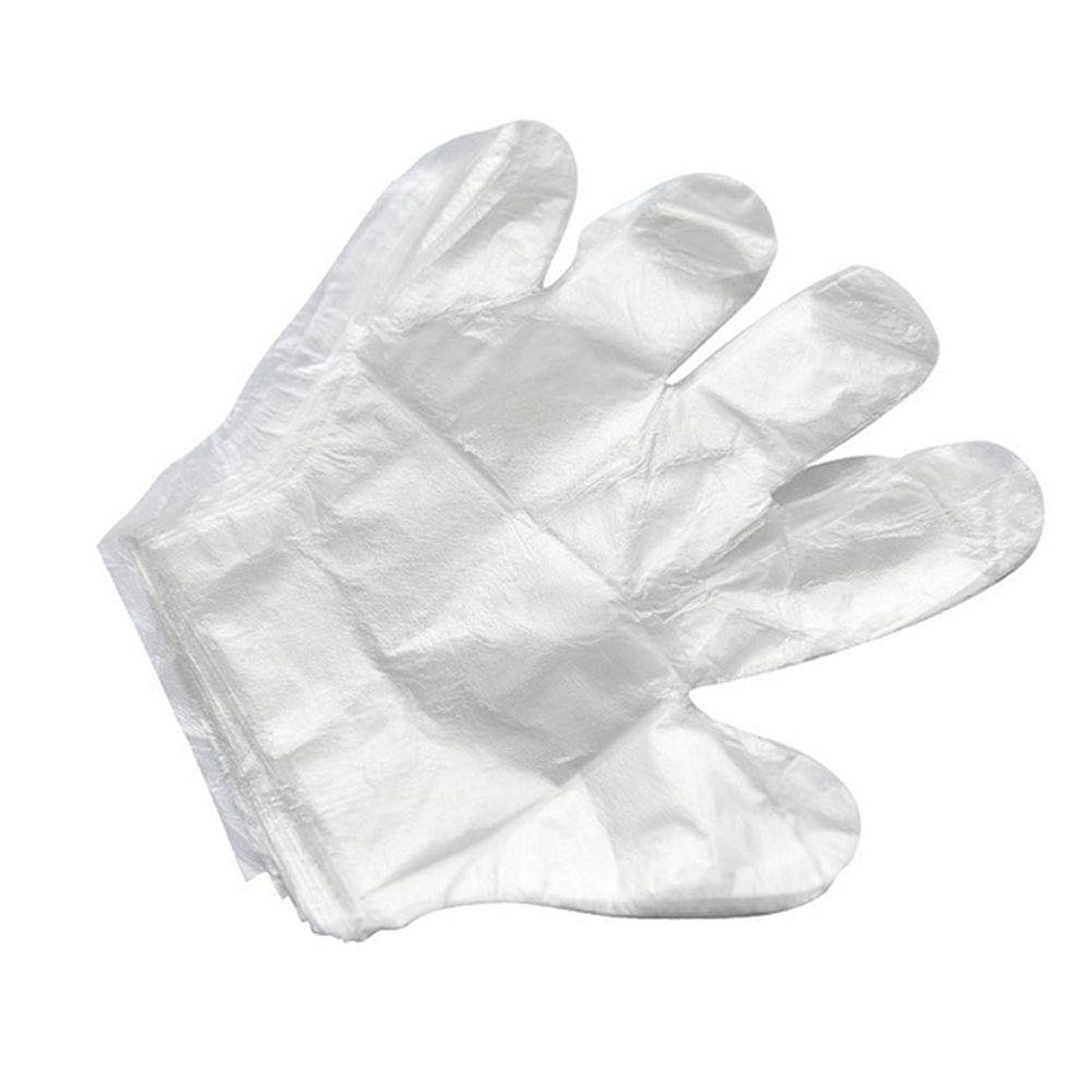 ランチョン添付イデオロギー使い捨て手袋バーベキューアクセサリー高度なキャスティング手袋使い捨てケータリングDIYクリーニングヘアダイ食品グレードプラスチック手袋(2000)透明のみ