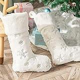 Deggodech - Juego de 2 Calcetines de Navidad de Felpa clásicos de Color Rojo y Blanco, tamaño Grande, Tradicional, Ideal para decoración de Chimenea de Navidad, Copo de Nieve Plateado, 22inch/56cm