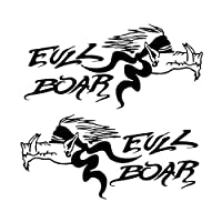 車のステッカー 創造的な野生のイノシシ漫画のステッカー車の車線黒い銀のオートバイのステッカーステッカー BJRHFN (Color : Black)