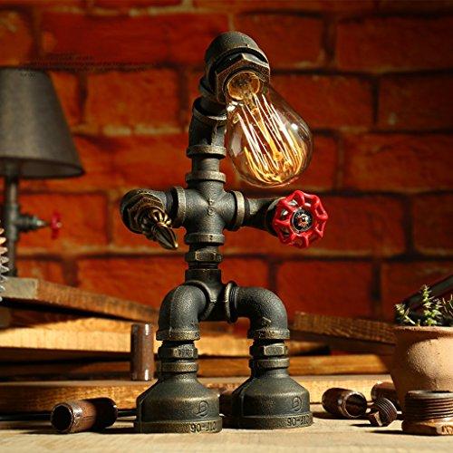 wshfor lampe de table Les conduites d'eau en fer forgé vintage industriel Lampe de table, gradable Chambre à coucher Salle de séjour Lampe de chevet fait main / E27