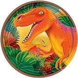 "Prehistoric Dinosaurs Metallic Round Plates, 7"", Party Favor"