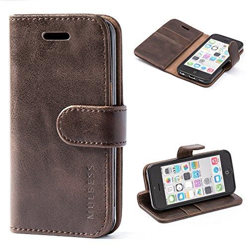 Mulbess Handyhülle für iPhone 5c Hülle Leder, iPhone 5c Handy Hüllen, Vintage Flip Handytasche Schutzhülle für iPhone 5c Case, Kaffee Braun