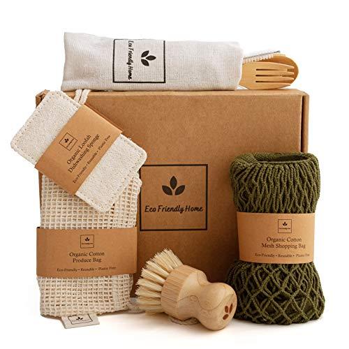 EcoFriendlyHome Kitchen Zero Waste Set- Cotton Mesh Shopping Bag, Net Produce Bag, Loofah Sponge, Dish Brush, Bamboo Cutlery Set – Plastic-Free | Vegan |Organic | Sustainable – Pamper Gift Box