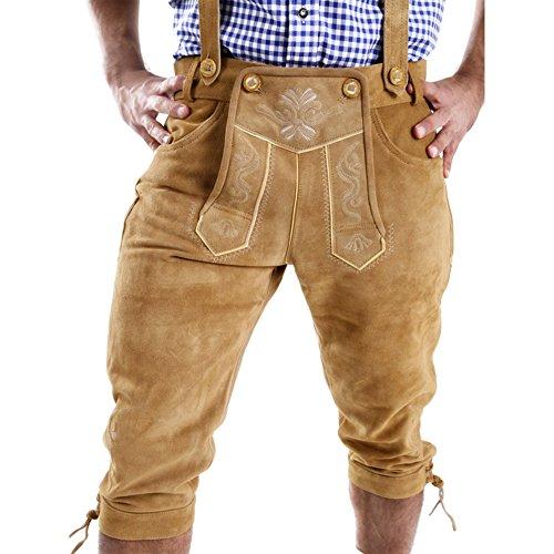 Almbock Trachtenhose Herren 3/4 - Trachtenhose Herren braun mit samtig weichem Innenfutter - Kniebundhose Leder - Lederhosen - Trachtenlederhose 48