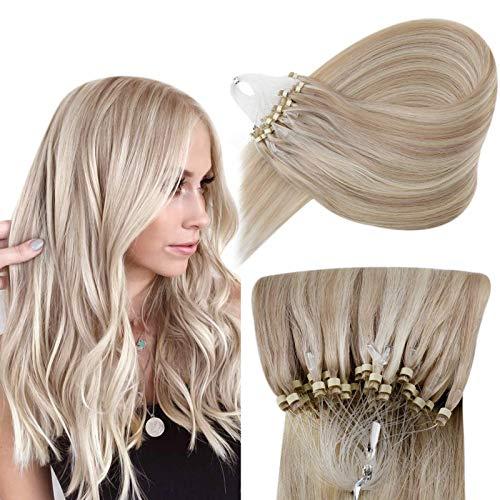 Hetto Extension Loops Vrai Cheveux a Froid Anneau Blond Foncé Cendré Mixte Blond Clair Micro Link Naturel Extensions de Cheveux à Loops 22 Pouces 50g par Paquet