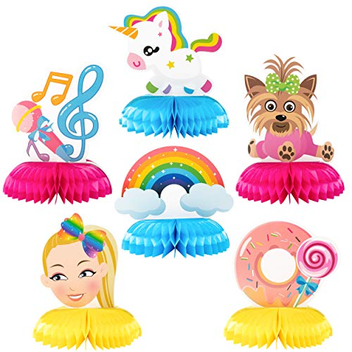 PANTIDE 6 Packs JoJo Honeycomb Centerpieces Table Toppers, Creative Double-Sided JoJo Rainbow Unicorn Themed Table Decoration Party Favors Photo Booth Props for Kids Girls Birthday Party