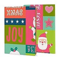 ノートカバー 手帳カバー ブックカバー メモ帳カバー PUレザー 耐久性 クリスマス サンタクロース 英字 ビジネスオフィス用品 メモパッドカバー おしゃれ 取り外し可能 軽くて柔らかい 文庫判サイズ かわいい プレゼント