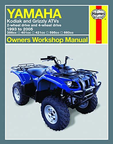 Yamaha Kodiak & Grizzly 2-wheel & 4-wheel drive 386cc, 401cc, 421cc, 595cc & 660cc (93-05) Haynes Repair Manual (Owners  Workshop Manual)