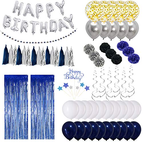 Lansekongjian Navy Blue Birthday Decorations, Birthday Party Supplies for Kids and Adults Include Silver Happy Birthday