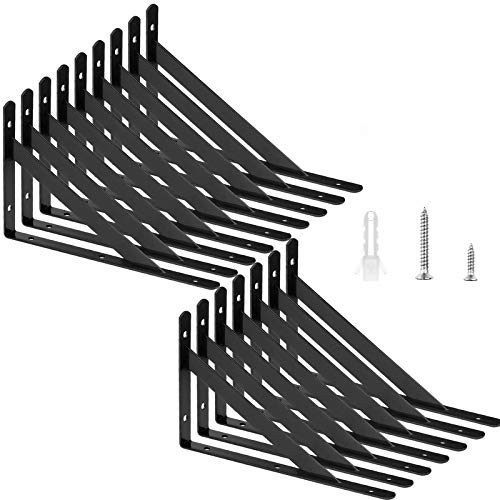 "16 Pack Shelf Brackets 7-7/8""x 4-3/4""Floating Shelves Black Triangle Shelf Brackets, 90 Degree Right Angle Wall Mounted Shelf Supporter L Bracket Frame, Black L Corner Bracket"