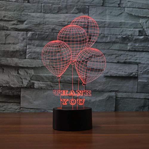 LIkaxyd LED 3D-nachtlampje, optische illusielamp 7 kleuren veranderen, Touch USB & batterij-aangedreven speelgoed decoratieve lamp, beste cadeau voor kinderen-Stijlvolle ballonnen