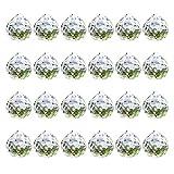 24 Stück Kristall Sonnenfänger, Feng Shui Sonnenfänger, Kristall Glas Prisma Anhänger Lampen, Hängende Chakra Glas Anhänger für Zuhause, Büro, Garten Dekoration