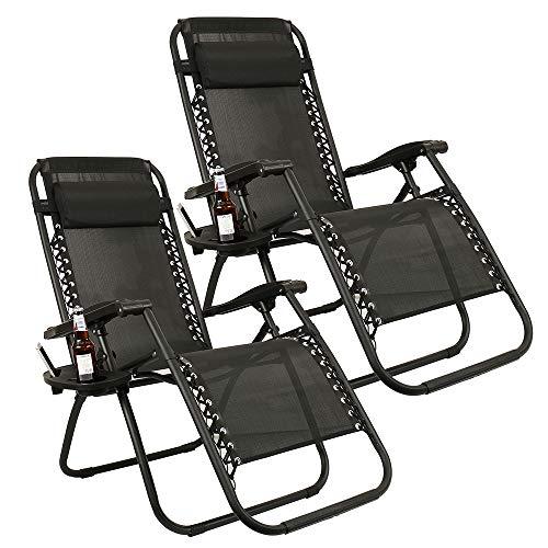 Dandelionsky 2 sillas reclinables Textoline Zero Gravity de Alta Resistencia para jardín, Patio, tumbonas, sillones reclinables con Soporte para Tazas, Negro