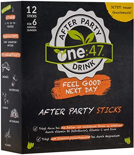 one:47 ® Anti-Hangover-Drink | 12 Sticks | PATENTIERTE FORMEL | hochkonzentriert & vegan | Natürlich bei Kater | hochkonzentrierte Elektrolyte und Pflanzenextrakte Ginkgo, Weidenrinde, Ingwer, Kaktusfeige, Acerola | natürliche Inhaltsstoffe | Mineralien Magnesium, Zink, Natrium | aus Deutschland | bei Alkoholkonsum | Anti-Hangover-Sticks one47