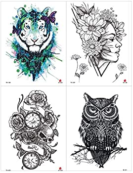 Half Arm Temporary Tattoos  4PCS  Waterproof Watercolor Body Art Sticker for Men Women Chest Shoulder Back Tiger Butterfly Owl Girl Flowers Beach Pool Party Supplies Selfie  T8
