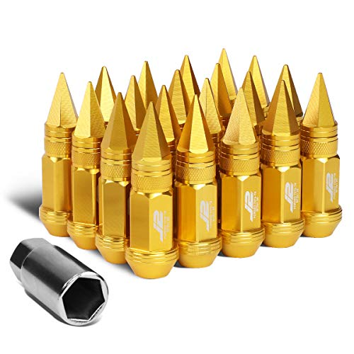 J2 Engineering 7075-T6 Replacement forged Aluminum M12X1.5 20Pcs 80mm Tall Spiky Cap Lug Nut Set w/Adapter Gold