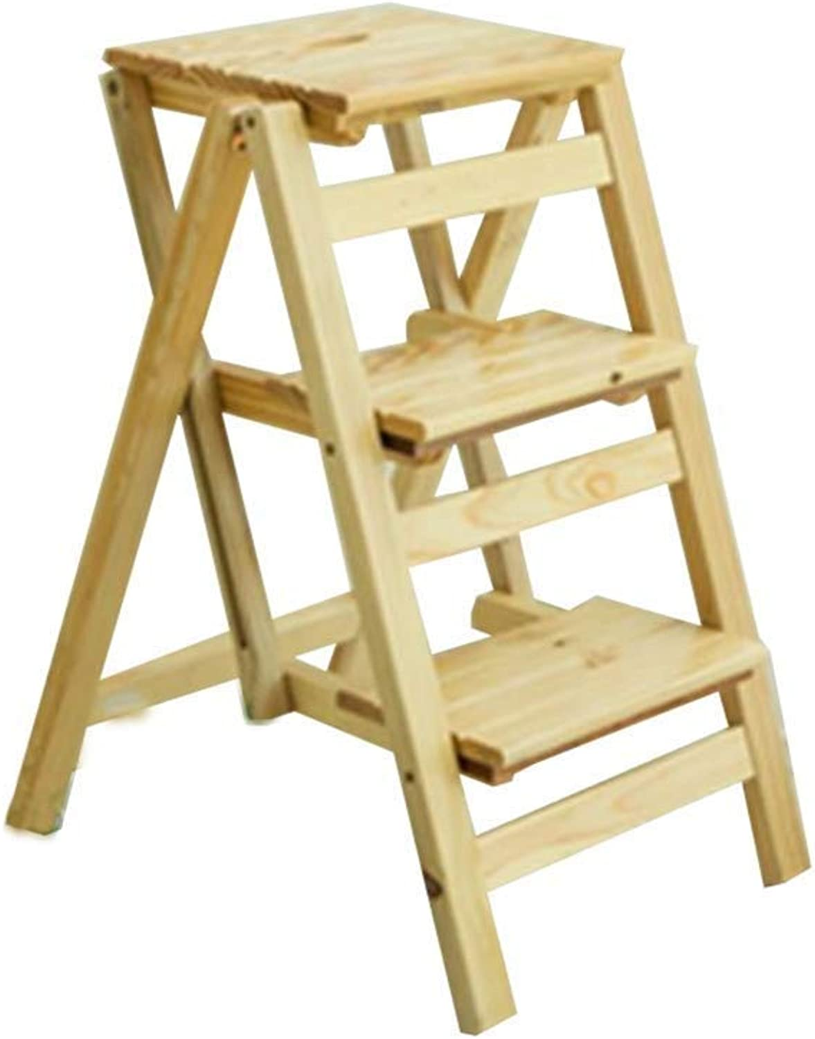 SCBED Multifunction Folding Wood Ladder Stool   3 Tier Stepladder Stairway Chair   Portable shoes Bench Flower Rack   for Adults & Kids, Max Load 150kg (color   B)