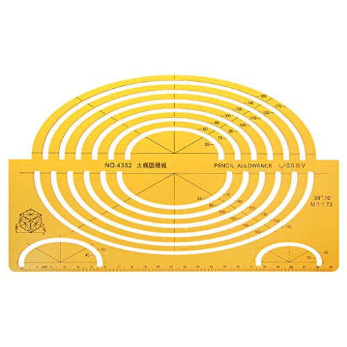 OWENRYIN K Elipses de resina Plantillas de dibujo Herramienta de medición de regla isométrica grande Estudiante