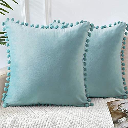 GaoTuo Terciopelo Suave Fundas de Almohada Decorativas de Terciopelo para el hogar, sofá Cama con Bola de Color sólido, Sala de Estar, Dormitorio, Estudio (Azul)