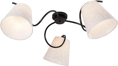 Plafoniere Contemporanea Lampada da Soffitto Moderna con Paralume in Tessuto montatura in metallo (Diametro 80) E27 * 3 , Cachi + Nero
