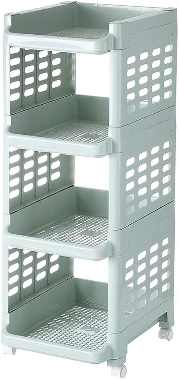 4 Tier Plastic Rolling Cart PP Storage Trolley Castors Kitchen & Bathroom Utility Organisation Cart (color   Light bluee)