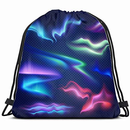 LREFON Bolsas de cuerdas para el gimnasio brillante colorido aurora boreal conjunto abstracto el vector de las artes Mochilas Casual Unisex Escuela Bolsa de Cuerda Bolsas de Gimnasia 36*42cm