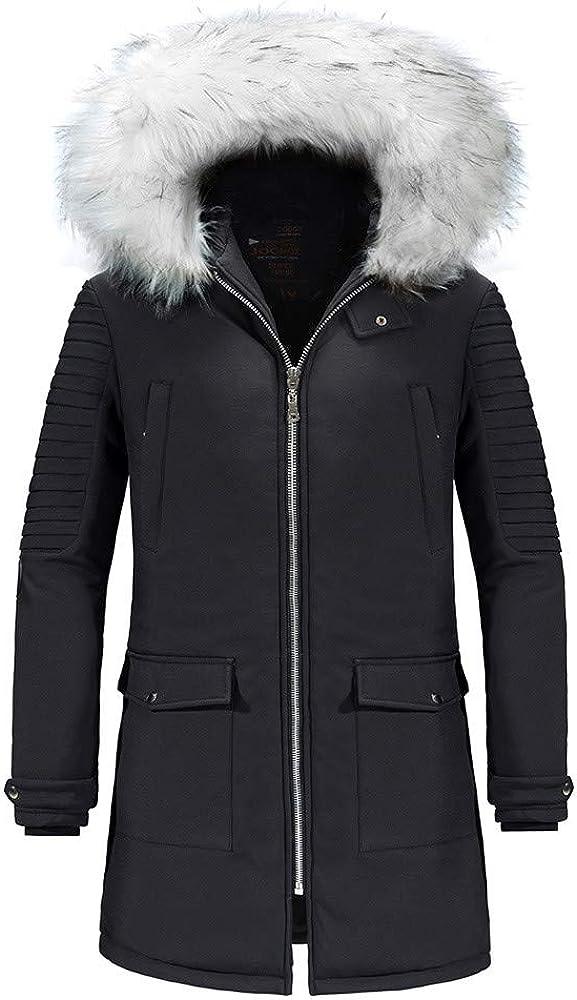 MODOQO Men's Parka Down Coat Winter Warm Zipper Hooded Jacket for Outdoor Hiking