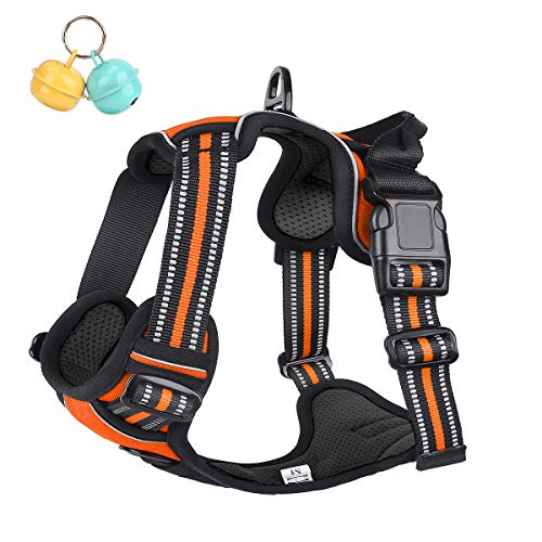 Belababy No Pull Dog Vest Harness Front Clip Handle, Reflective Easy Control Outdoor Walking Training Mini Medium Large Dog Harness, Breathable Chest Padded Mesh Adjustable Harnesses Orange
