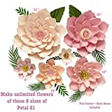 6 Sizes Petal 21 Paper Flower Templates + Flat Centers + Bases to Create Unlimited Giant Paper Flowers for Paper Flower Wall for Wedding, Birthdays, Bridal Shower and Other Event Decor