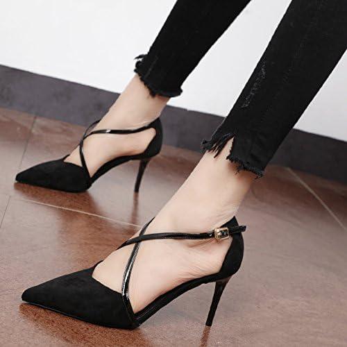 Xue Qiqi Court Schuhe Tipp SchwarzSatin einzelne Schuhe Frauen Schuhe, Gurt und stilvolle Seite leer high-heel Schuhe Kreuz