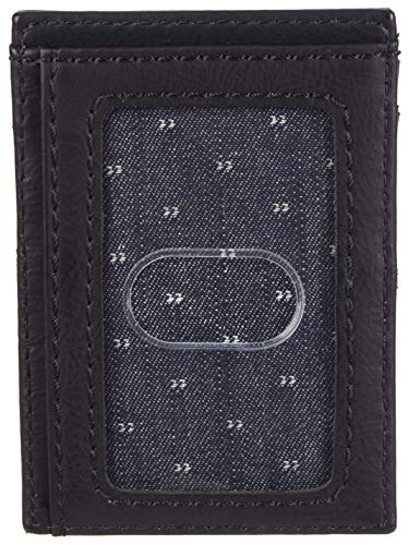 Levi's Men's Leather Minimalist Wallet - Front Pocket Card Case RFID Slim Thin Tactical ID Holder Sleeve for Men Travel, Deep Black, One Size